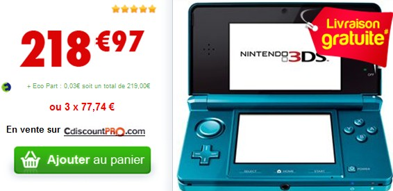 la 3d sans lunettes gr ce la nintendo 3ds sur cdiscount. Black Bedroom Furniture Sets. Home Design Ideas