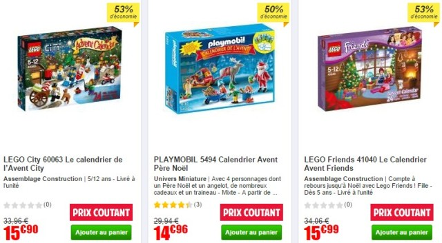 3 calendriers prix coutant